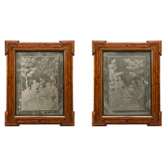 Pair of Italian 18th Century Venetian Etched Mirrors with Original Frames