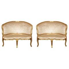 Pair of Italian 18th Century Venetian Giltwood Corner Chairs