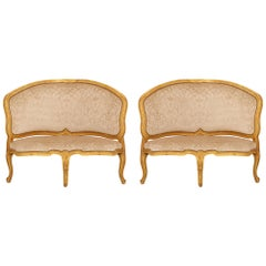 Pair of Italian 18th Century Venetian St. Giltwood Corner Chairs