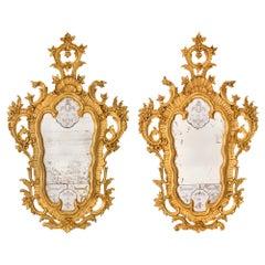 Pair of Italian 18th Century Venetian Style Giltwood Mirrors