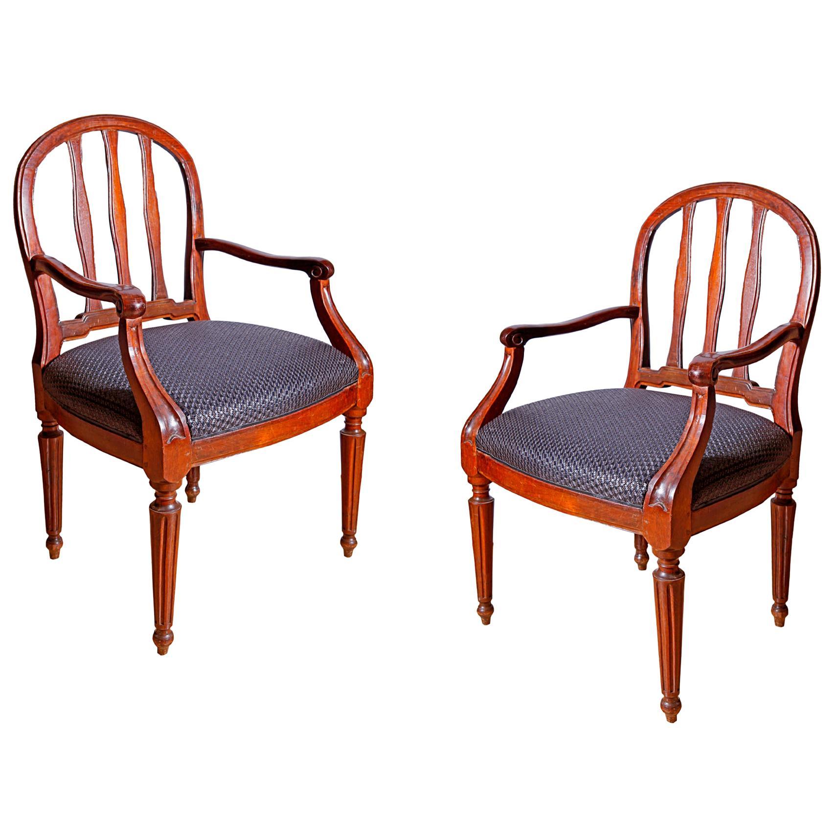 Pair of Italian 18th Century Walnut Armchairs