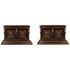 Pair of Italian 18th Century Walnut Buffets, from Northern Italy