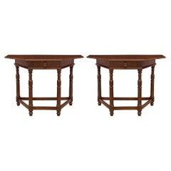 Pair of Italian 18th Century Walnut Consoles/Center Table from Tuscany