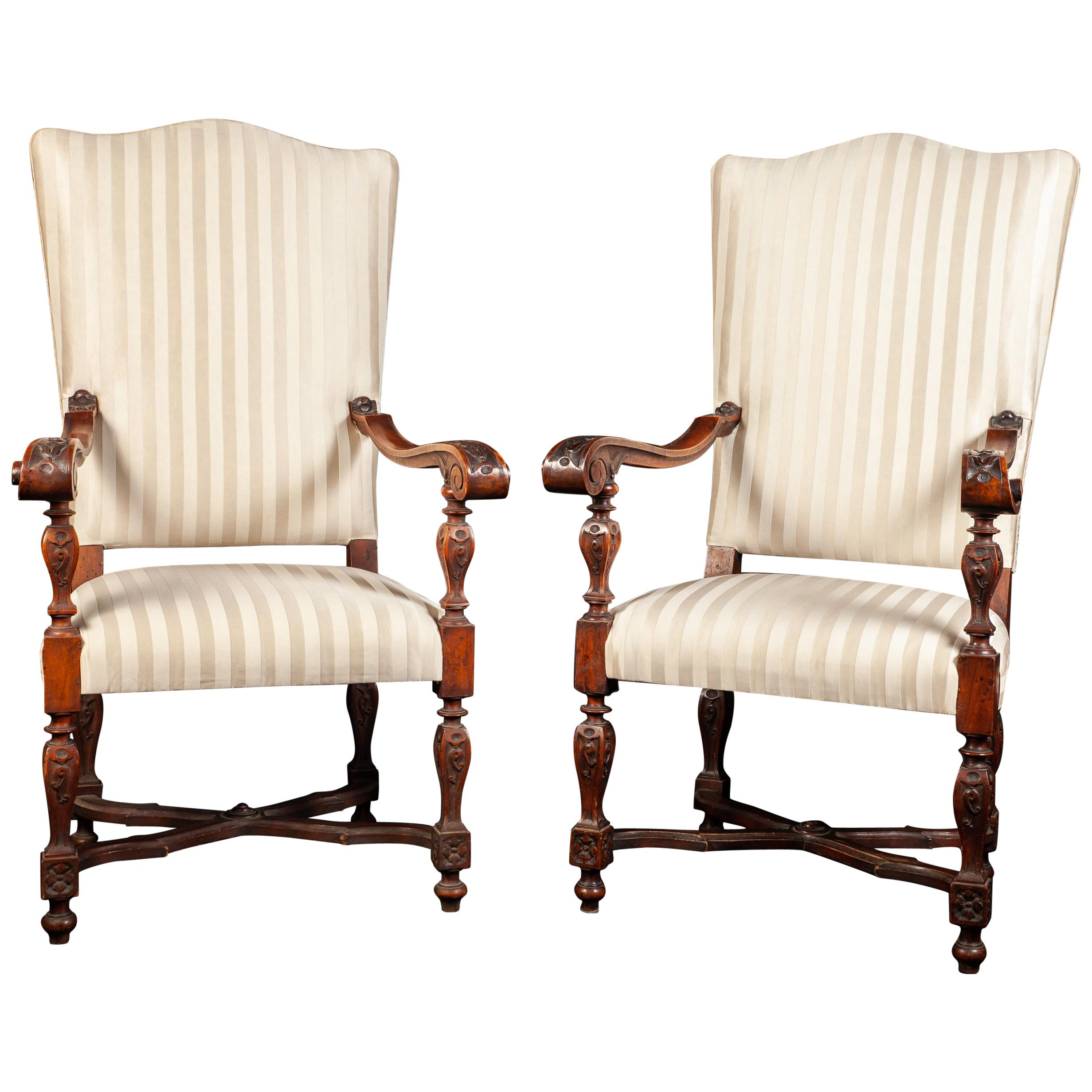 Pair of Italian 19th Century Walnut Carved Armchairs