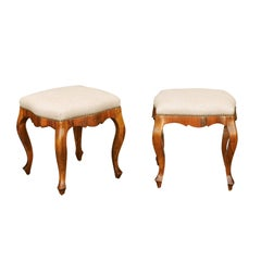 Pair of Italian 1920s Rococo Style Olivewood Stools with Upholstered Seats