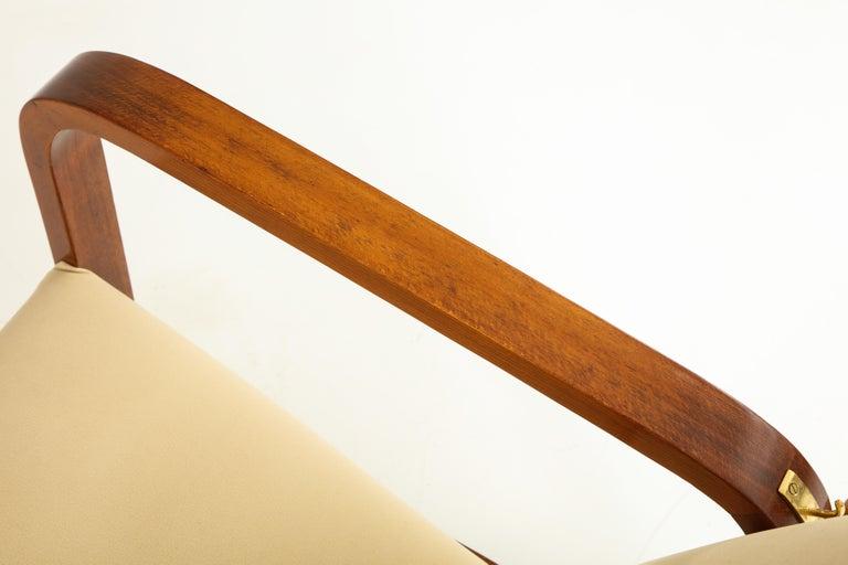 Pair of Italian 1930s Palisander Wood Adjustable Armchairs For Sale 5