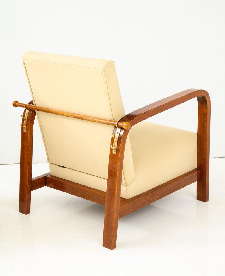 Pair of Italian 1930s Palisander Wood Adjustable Armchairs For Sale 6