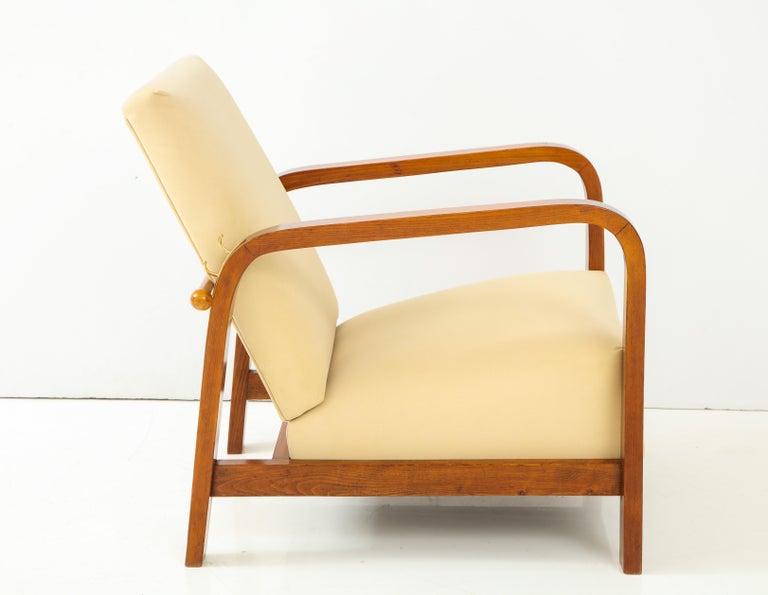 Pair of Italian 1930s Palisander Wood Adjustable Armchairs For Sale 8