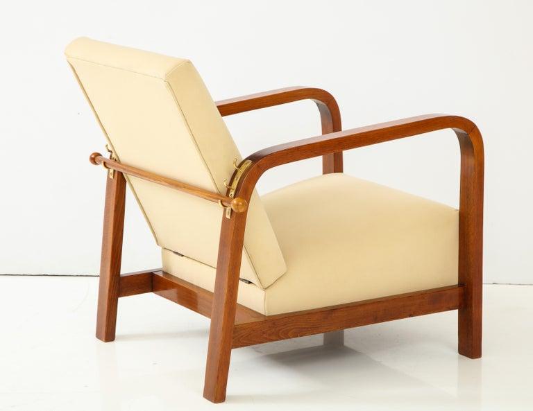 Pair of Italian 1930s Palisander Wood Adjustable Armchairs For Sale 9