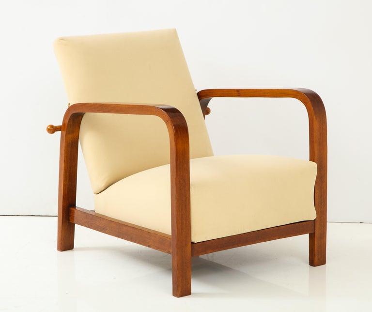 Pair of Italian 1930s Palisander Wood Adjustable Armchairs For Sale 10