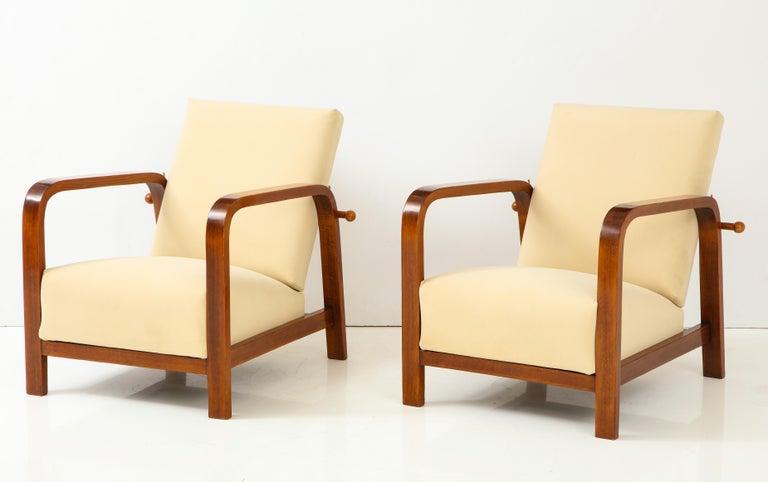 Art Deco Pair of Italian 1930s Palisander Wood Adjustable Armchairs For Sale