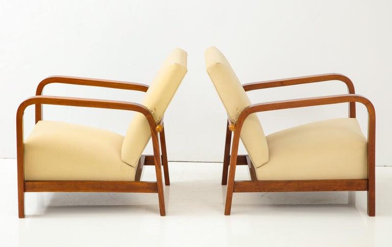 Mid-20th Century Pair of Italian 1930s Palisander Wood Adjustable Armchairs For Sale