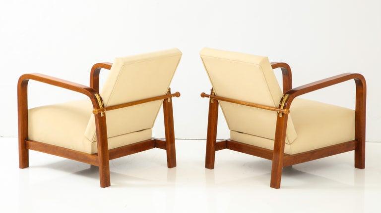 Pair of Italian 1930s Palisander Wood Adjustable Armchairs For Sale 1