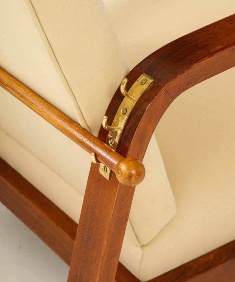 Pair of Italian 1930s Palisander Wood Adjustable Armchairs For Sale 2