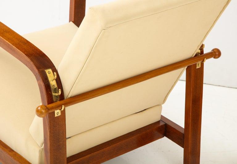 Pair of Italian 1930s Palisander Wood Adjustable Armchairs For Sale 3