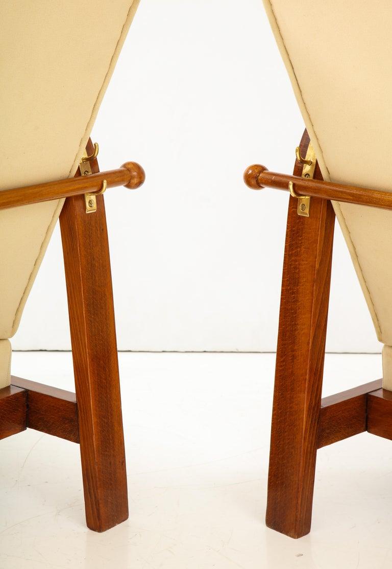 Pair of Italian 1930s Palisander Wood Adjustable Armchairs For Sale 4