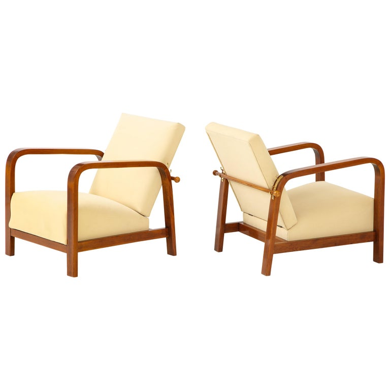 Pair of Italian 1930s Palisander Wood Adjustable Armchairs For Sale