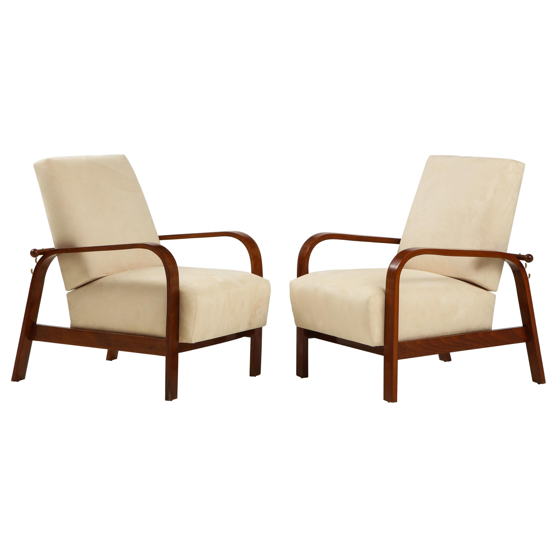 Pair of Italian 1930's Reclining Armchairs
