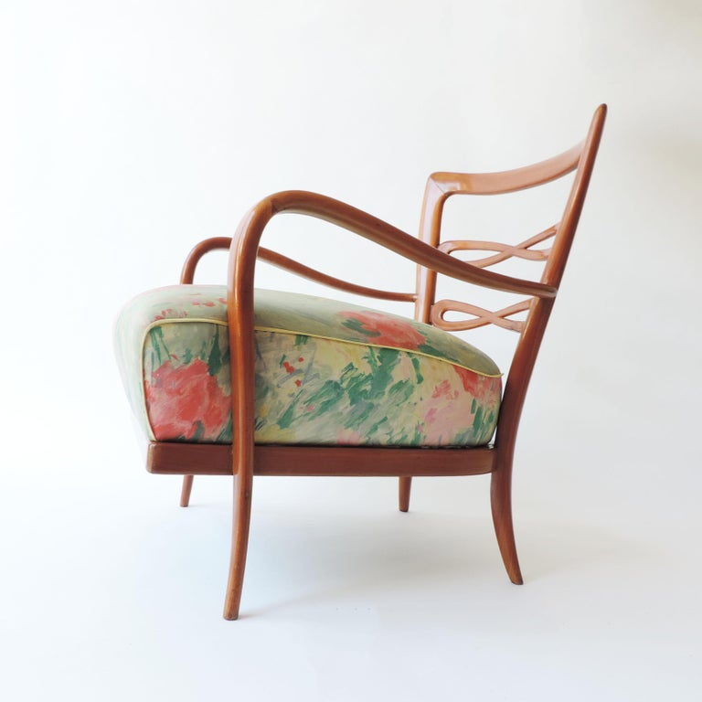 Pair of Italian 1940s Cherry Wood Armchairs For Sale 4