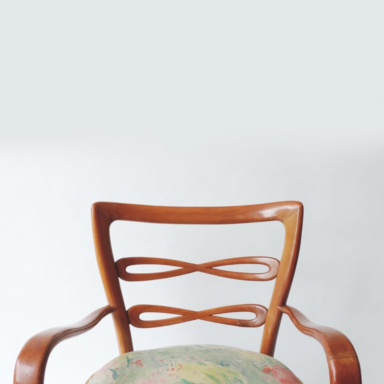 Pair of Italian 1940s Cherry Wood Armchairs For Sale 5