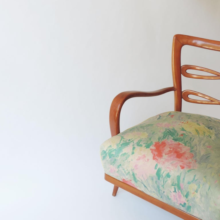 Pair of Italian 1940s Cherry Wood Armchairs For Sale 6