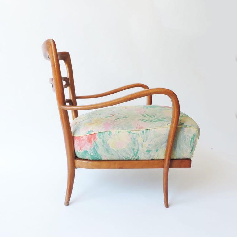 Splendid pair of Italian 1940s cherry wood armchairs.  original seats and back cushions.