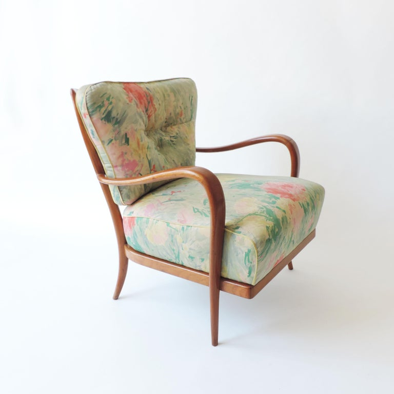Mid-20th Century Pair of Italian 1940s Cherry Wood Armchairs For Sale