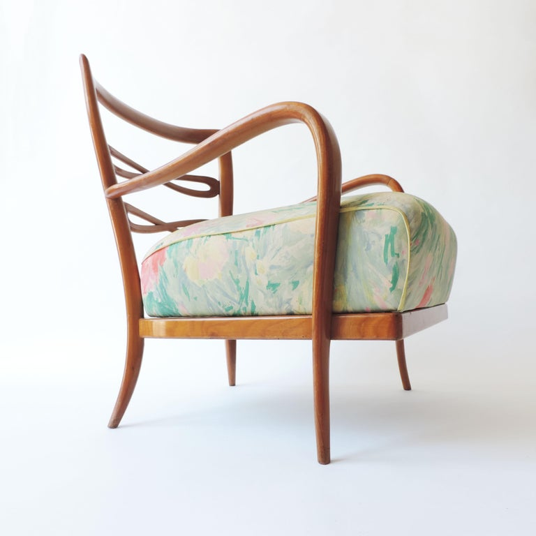 Fabric Pair of Italian 1940s Cherry Wood Armchairs For Sale