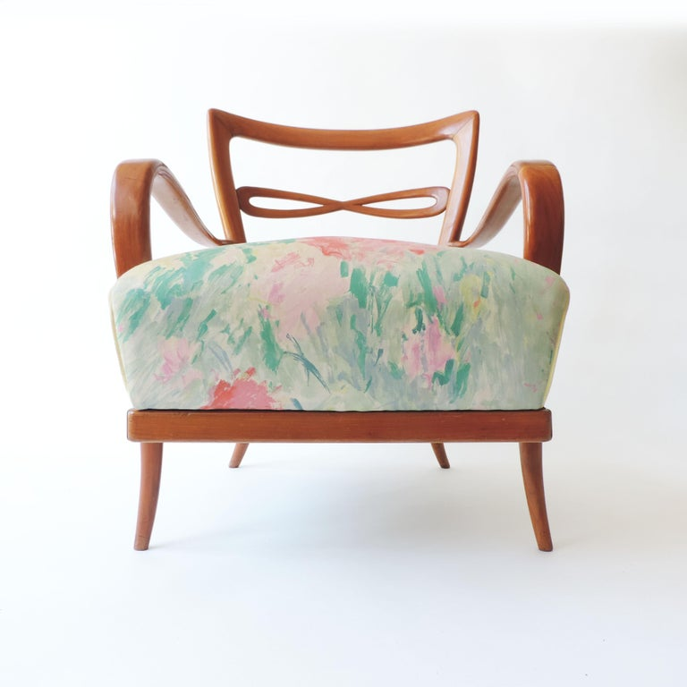 Pair of Italian 1940s Cherry Wood Armchairs For Sale 1