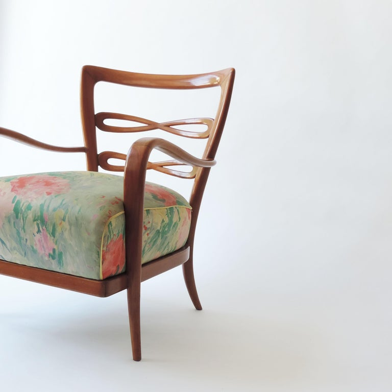 Pair of Italian 1940s Cherry Wood Armchairs For Sale 2