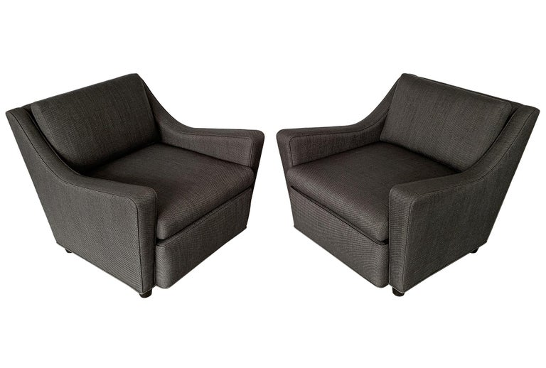 Mid-Century Modern Pair of Italian 1940s Deco Streamlined Lounge Chairs For Sale