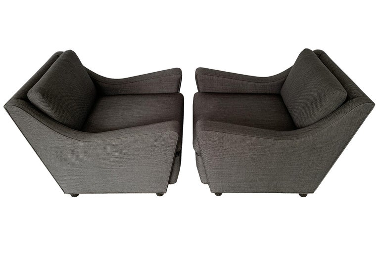 Ebonized Pair of Italian 1940s Deco Streamlined Lounge Chairs For Sale