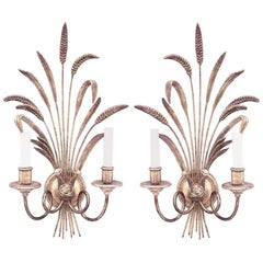 Pair of Italian 1940s Giltwood Horn Design Two-Arm Wall Sconces