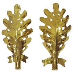 Pair of Italian 1940s Hammered Brass Leaf Wall Lamps