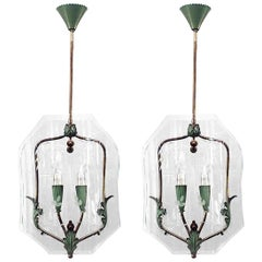 Pair of Italian 1940s Hanging Lanterns