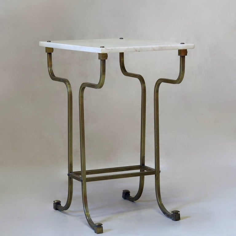 Mid-Century Modern Pair of Italian 1950s Brass and Marble Side Tables For Sale