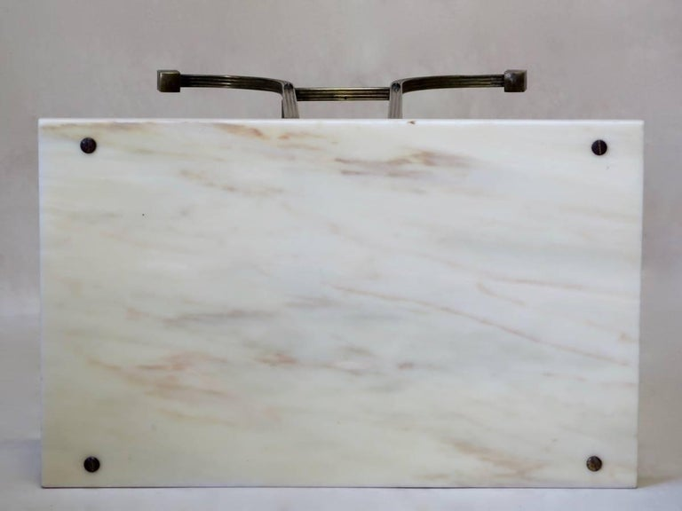 20th Century Pair of Italian 1950s Brass and Marble Side Tables For Sale