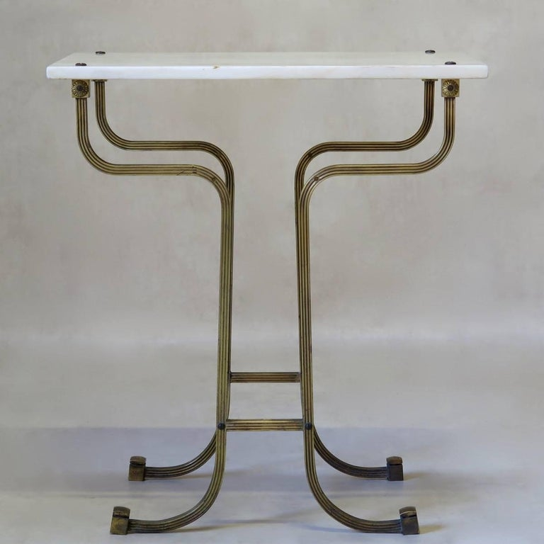 Pair of Italian 1950s Brass and Marble Side Tables For Sale 1