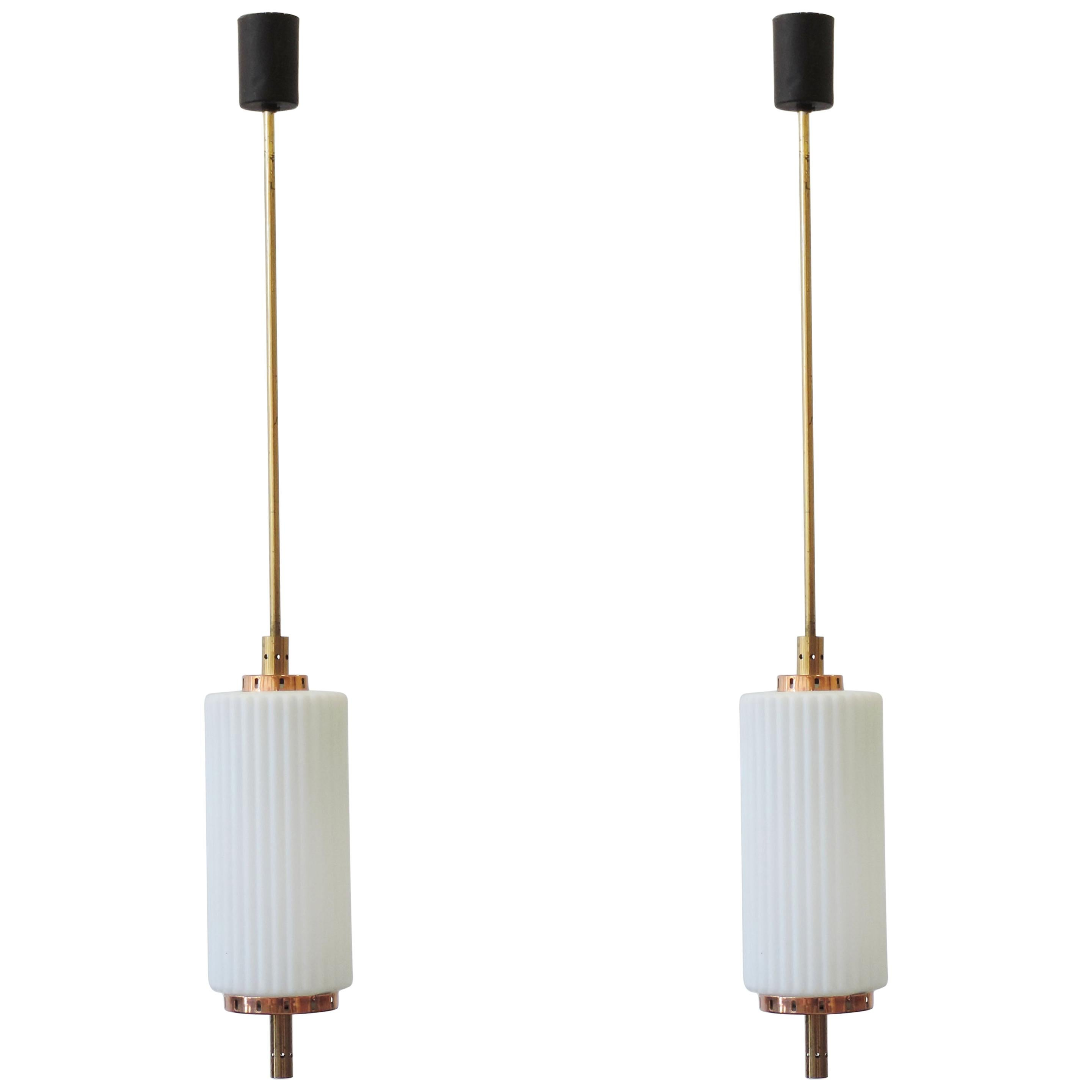 Pair of Italian 1950s Brass and Copper Pendants