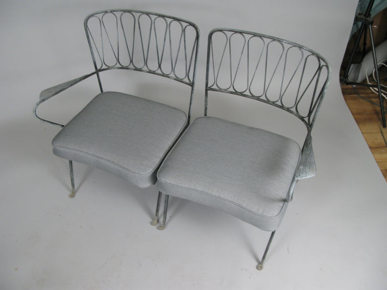 Pair of Italian 1950s Lounge Chairs and Table by Salterini For Sale 5