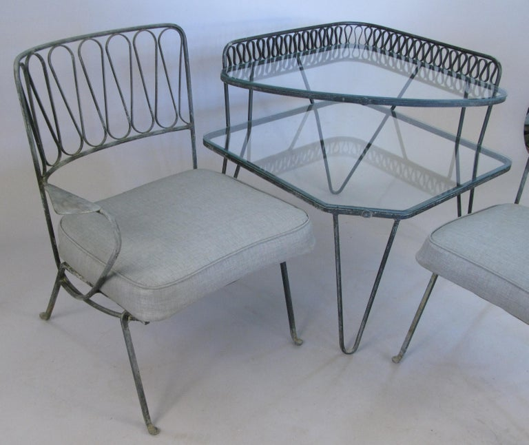 Mid-20th Century Pair of Italian 1950s Lounge Chairs and Table by Salterini For Sale