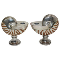 Pair of Italian 1950s Nautilus Silver Plated Candleholders