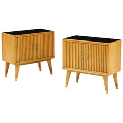 Pair of Italian 1950s Oak Nightstands with Black Glass Tops