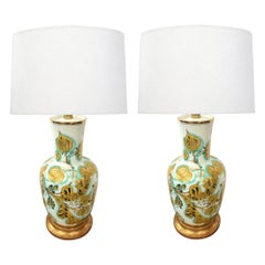 Pair of Italian 1950's Painted Porcelain Lamps for Marbro Lamp Co., Los Angeles