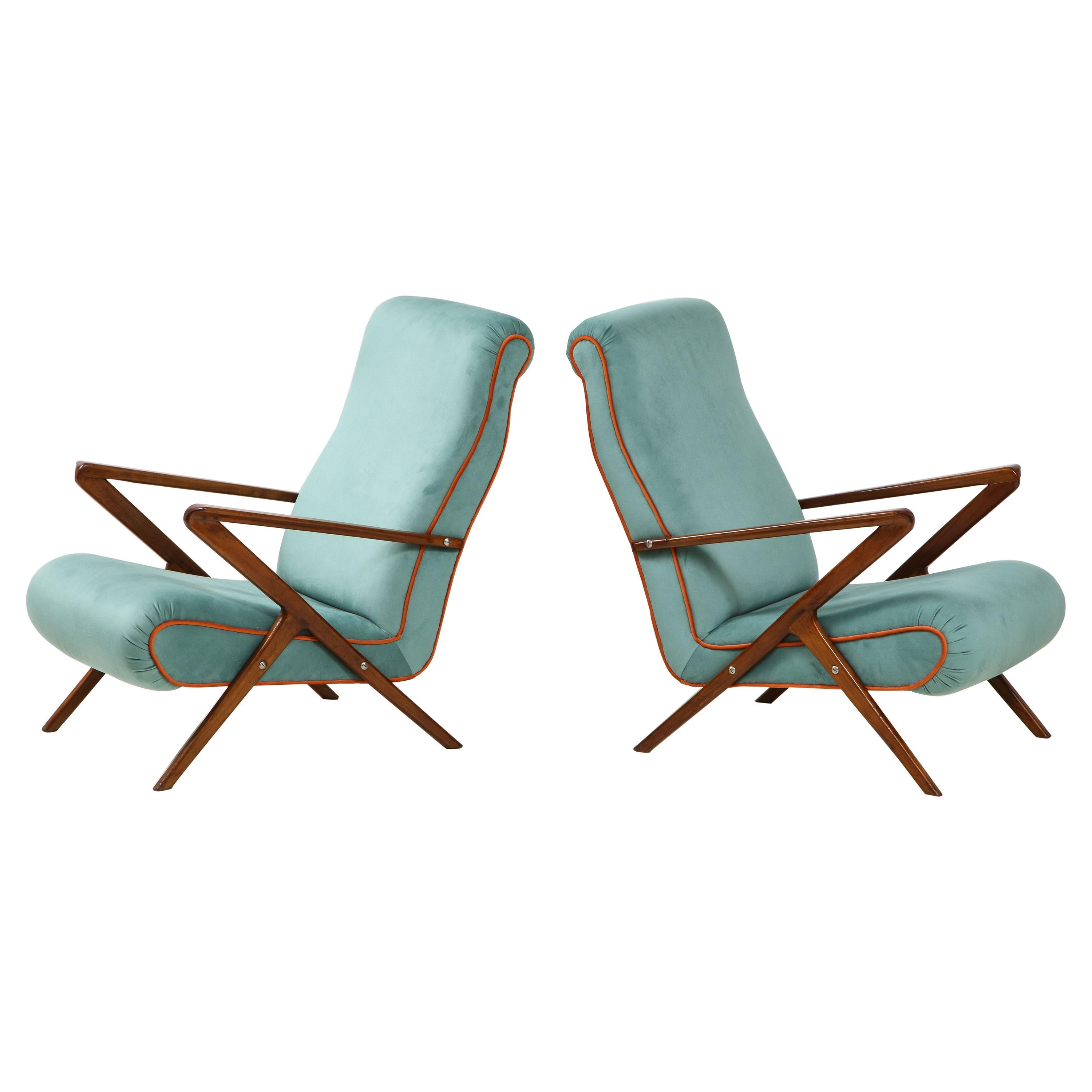 Pair of Italian 1950s Sculptural Walnut Upholstered Armchairs or Lounge Chairs