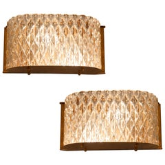 Pair of Italian 1950s Seguso Murano Curved Glass and Brass Wall Lights