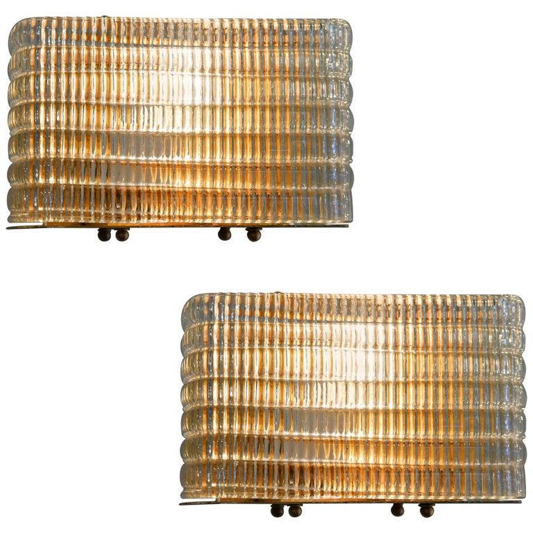 Pair of Italian 1950s Seguso Murano Rectangular Glass and Brass Wall Lights For Sale