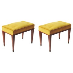 Pair of Italian 1950s Stools in Wood and Yellow Velvet