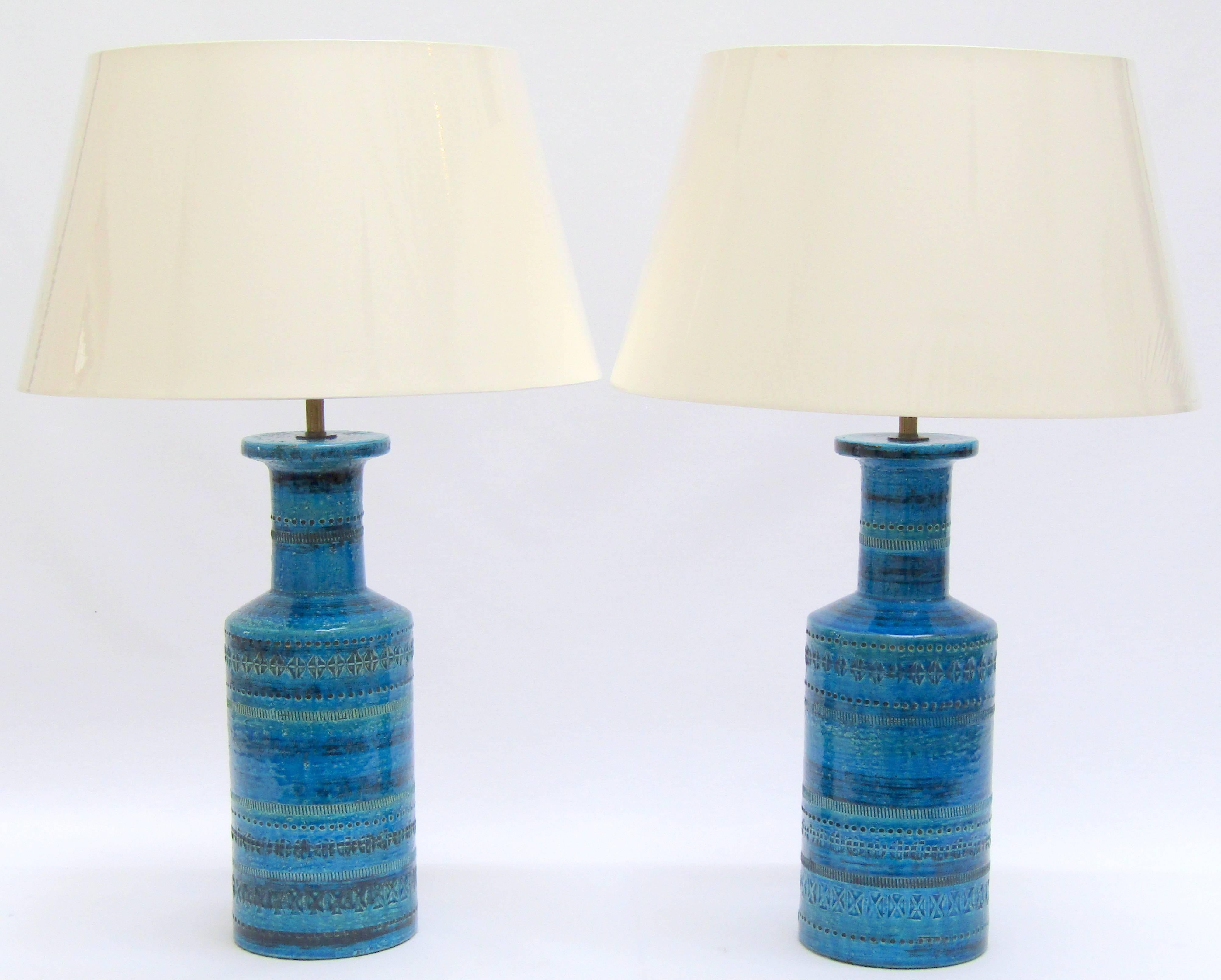 A Pair Of Ceramic Rimini Blue Table Lamps Designed By Aldo Londi For  Bitossi Re