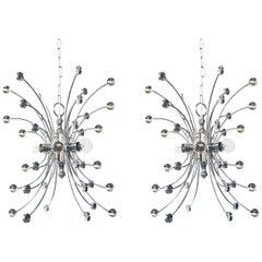 Pair of Italian 1960s Chromed Steel 6-light Farfalla 'Butterfly' Pendants